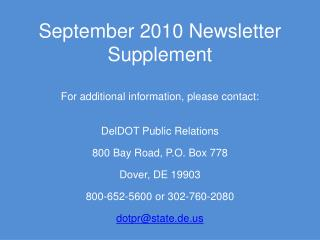 September 2010 Newsletter Supplement