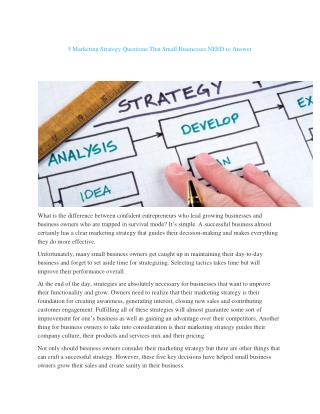 5 Marketing Strategy Questions That Small Businesses NEED to Answer