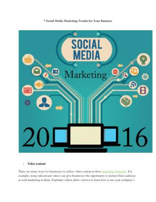 7 Social Media Marketing Trends for Your Business