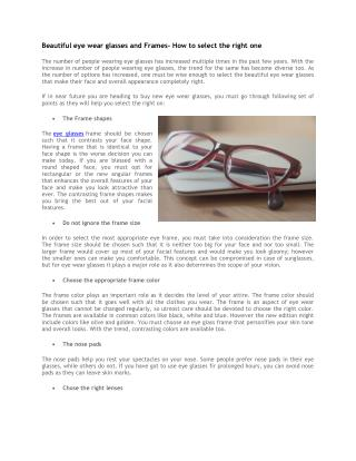 Beautiful eye wear glasses and Frames- How to select the right one