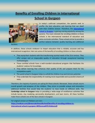 Benefits of enrolling children in international school in gurgaon