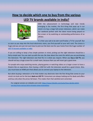 How to decide which one to buy from the various LED TV brands available in India