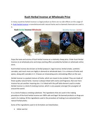 Wholesale Kush Herbal Incense for Sale