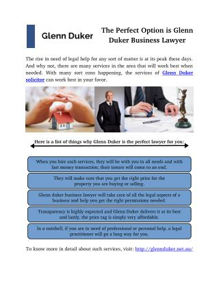 The Perfect Option is Glenn Duker Business Lawyer