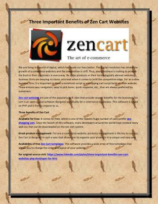 Three Important Benefits of Zen Cart Websites