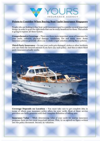 Points to Consider When Buying Boat Yacht Insurance Singapore