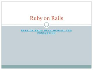 Ruby on Rails Consultants and Developers