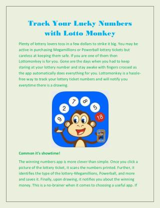 Track Your Lucky Numbers with Lotto Monkey