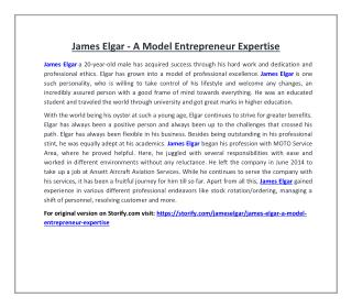 James Elgar - A Model Entrepreneur Expertise