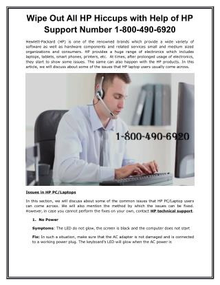 Wipe Out All HP Hiccups with Help of HP Support Number 1-800-490-6920 toll-free