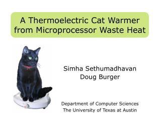 A Thermoelectric Cat Warmer from Microprocessor Waste Heat