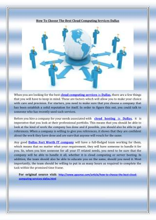 How To Choose The Best Cloud Computing Services Dallas