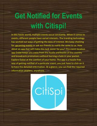 Get Notified for Events with Citispi!