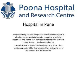 Best hospital in Pune - Poona Hospital & Research Centre | Health care services