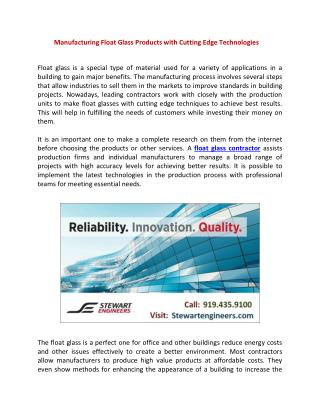 Manufacturing Float Glass Products with Cutting Edge Technologies