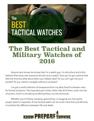 The Best Tactical and Military Watches of 2016