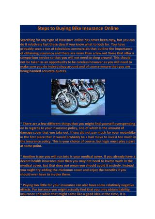 Steps to Buying Bike Insurance Online