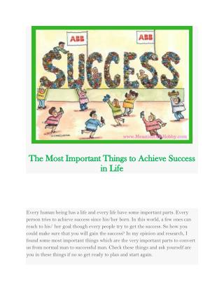 Six steps to achieve Success | Meaning Of A Hobby