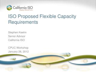 ISO Proposed Flexible Capacity Requirements