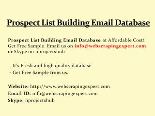 Prospect List Building Email Database