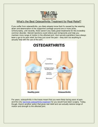 Best Osteoarthritis Treatment for Real Relief - Texas Cell Institute
