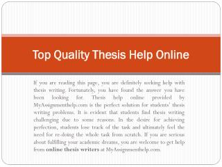 Get Thesis Help Online Services with Topics by UK Experts