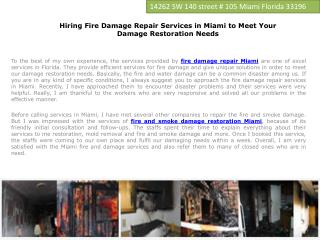 Fire Damage Repair Services in Miami