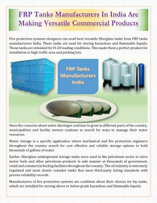 FRP Tanks Manufacturers In India Are Making Versatile Commercial Products
