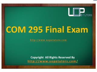 COM 295 Final Exam Questions & Answers