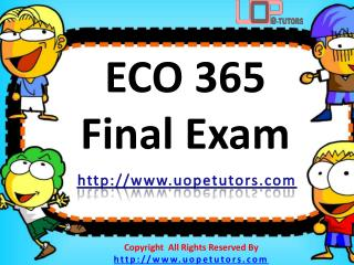 ECO 365 Final Exam Questions & Answers