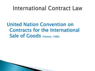 International Contract Law