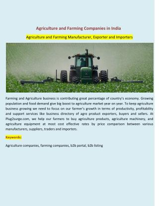 Agriculture and Farming Companies in India