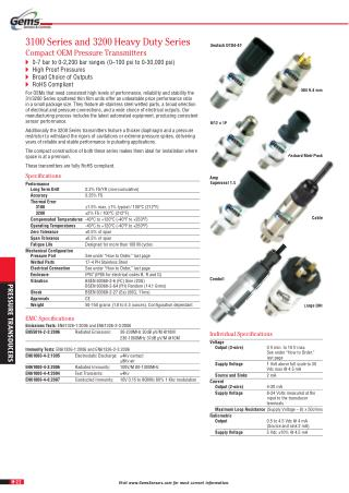 0-7 bar to 0-2,200 bar ranges (0–100 psi to 0-30,000 psi)  High Proof Pressures  Broad Choice of Outputs  RoHS