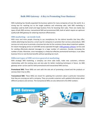 Bulk SMS Gateway - A Key to Promoting Your Business