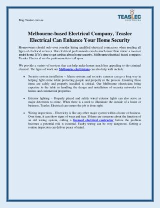 Melbourne-based Electrical Company, Teaslec Electrical Can Enhance Your Home Security
