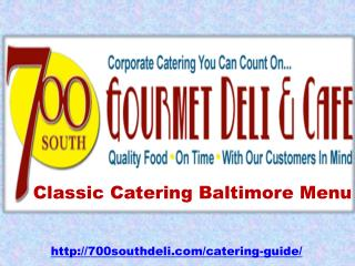 Catering in Baltimore Menu