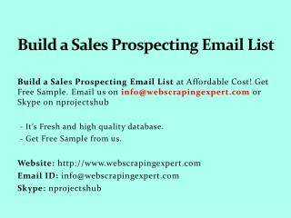 Build a Sales Prospecting Email List