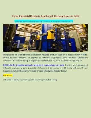 List of Industrial Products Suppliers & Manufacturers in India.