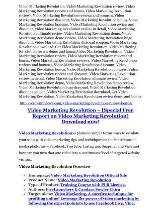 Video Marketing Revolution Review - 80% Discount and $26,800 Bonus