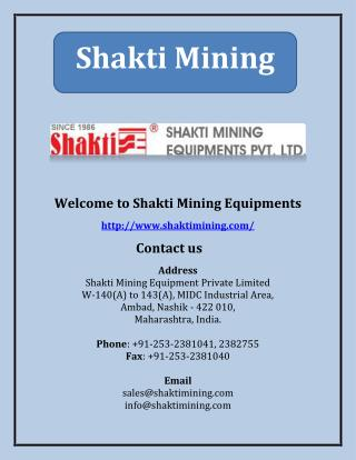 Shakti Mining - Mining & Material Handling Equipment Manufacturers In India