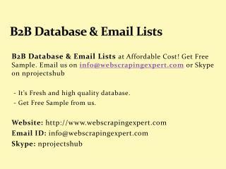 B2B Database & Email Lists
