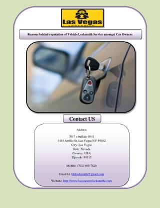 Reasons behind reputation of Vehicle Locksmith Service amongst Car Owners