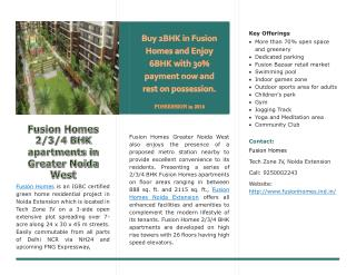Fusion Homes 2/3/4 BHK apartments in Greater Noida West