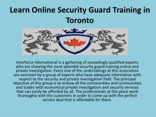 Learn Online Security Guard Training in Toronto