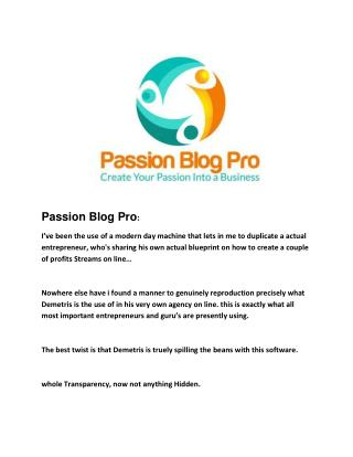 Passion Blog Pro review
