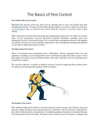 The Basics of Pest Control