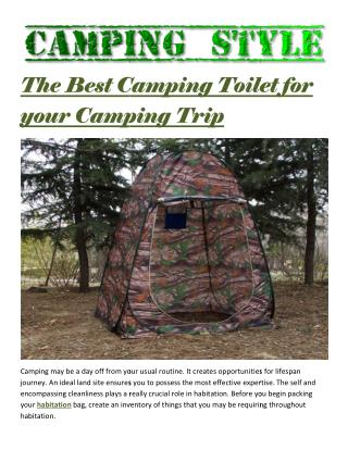 The best camping toilet for your camping trip