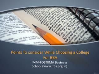 Points To consider While Choosing a College For BBA