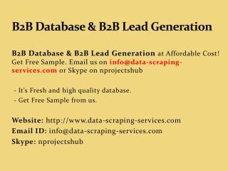 B2B Database & B2B Lead Generation