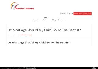 At What Age Should My Child Go To The Dentist?